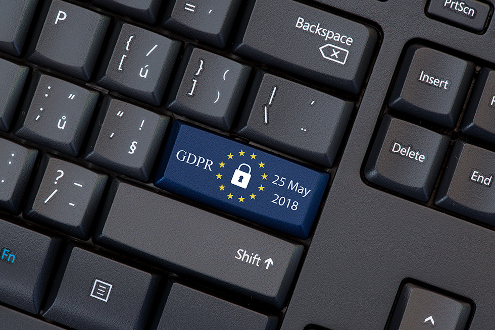 GDPR and EU symbol on computer